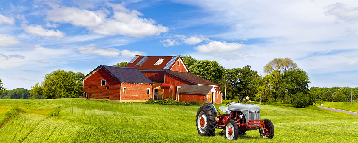 Farm with tractor and barn
